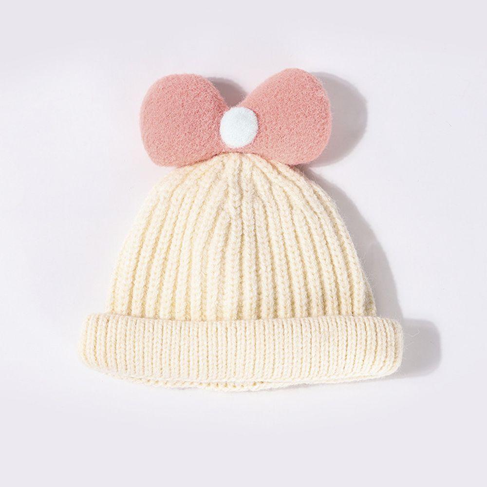 糖果蝴蝶結針織帽-米色 (44-50CM(30M以下))