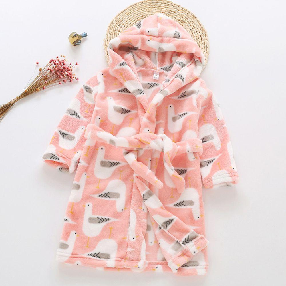 超柔軟珊瑚絨浴袍睡衣-粉色鴿子