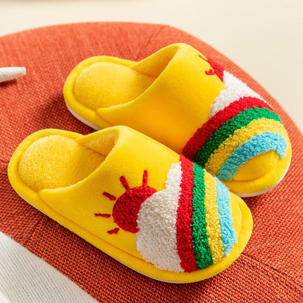 兒童毛絨軟底保暖拖鞋-暖黃彩虹