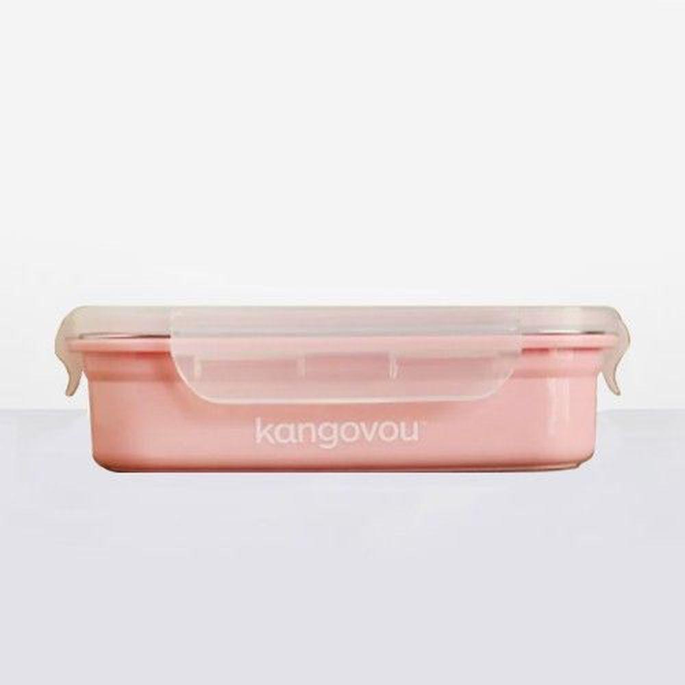 美國 Kangovou - 不鏽鋼安全兒童餐具-餐盒-珊瑚粉 (19*14.5*5(長*寬*高))