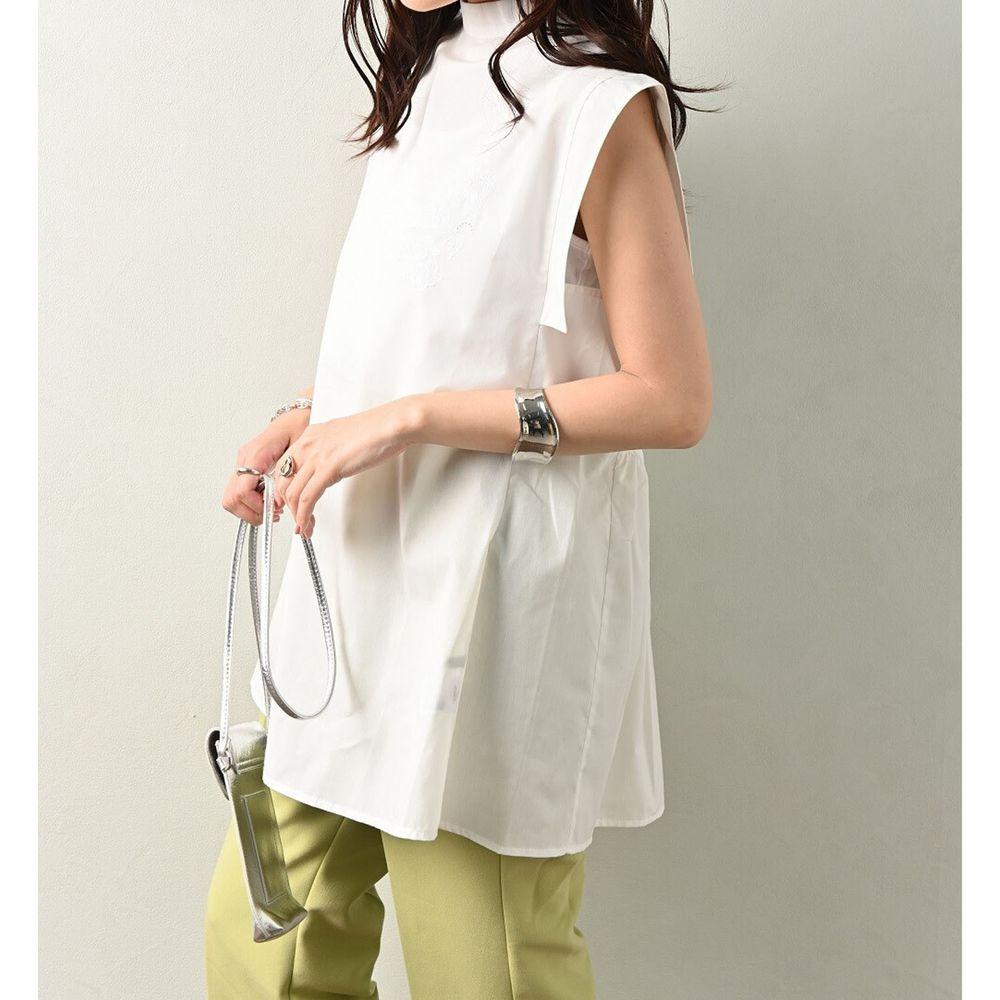 日本 ELENCARE DUE - 顯瘦剪裁無袖上衣-白