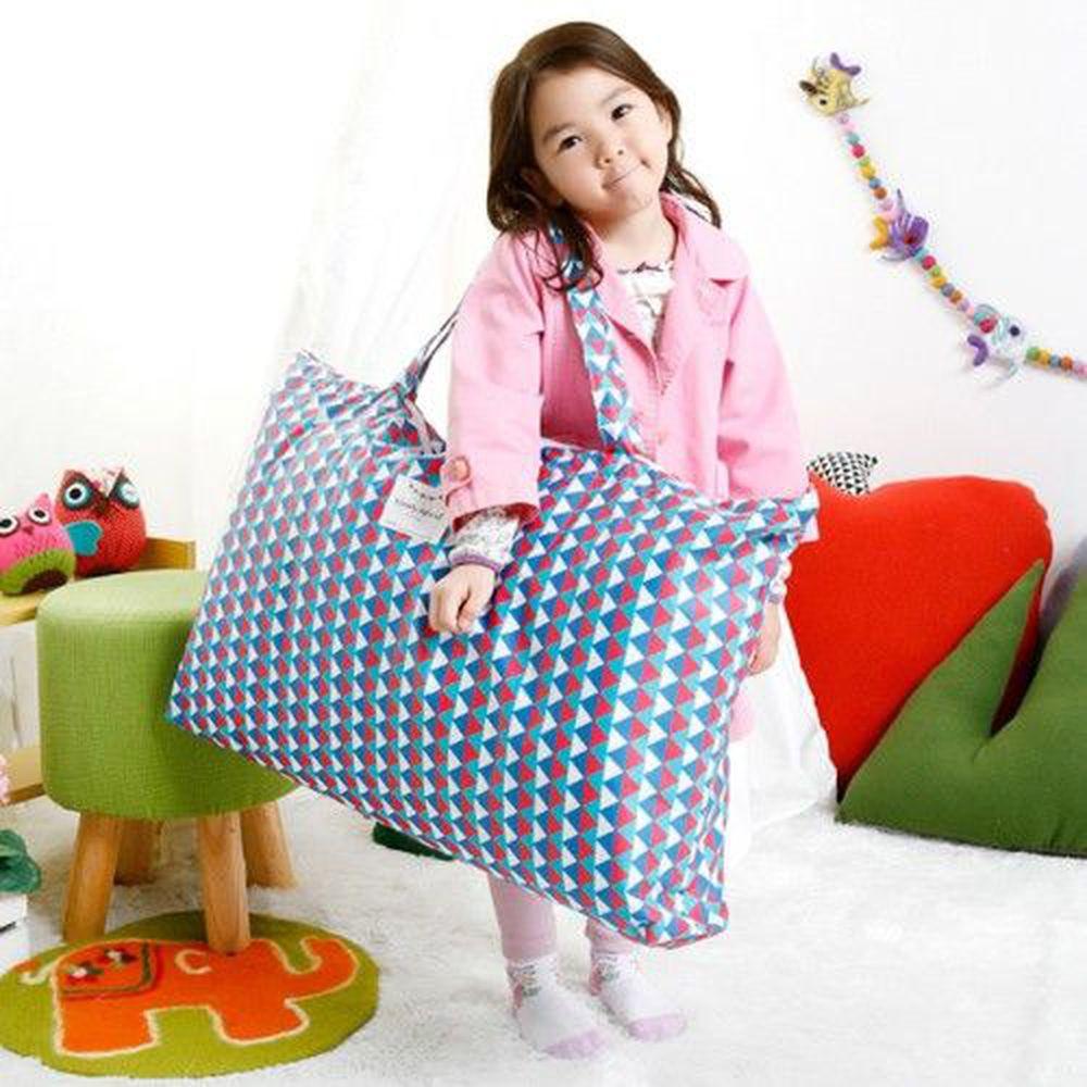 韓國 Coney Island - 防水睡袋收納袋(純棉內裏)-幾何三角形-紅藍 (77.5*42.5*11cm)