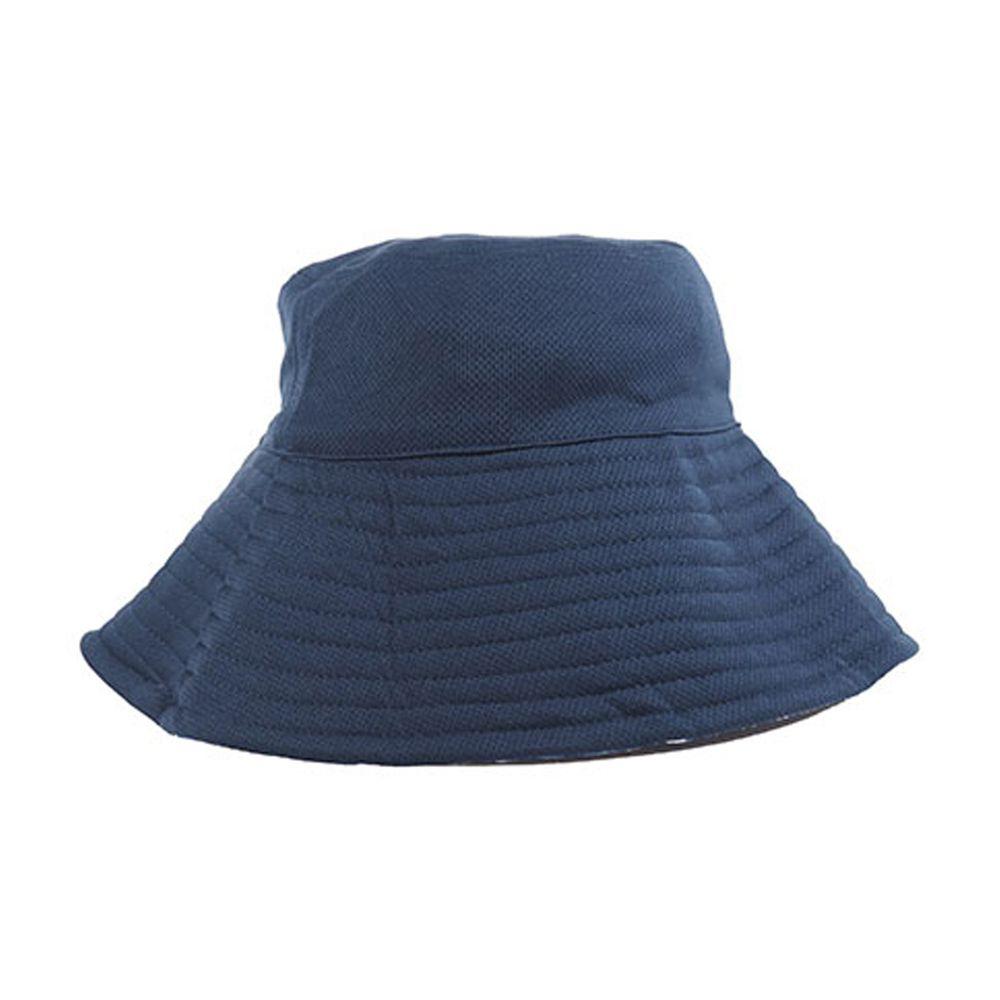 日本 SUN FAMILY - 12cm帽簷可折疊兩面抗UV遮陽帽-深藍xx格紋 (頭圍57.5cm內)