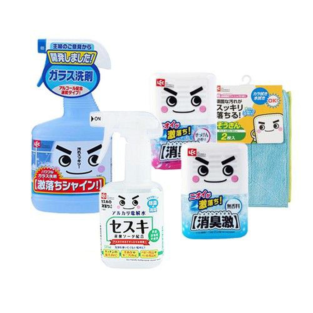 日本 LEC - 浴室清潔組-玻璃清潔520ml +倍半碳酸鈉電解水一般型320ml+激落君消臭激320g (無香&微香各一) + 激落超細纖維抹布2入
