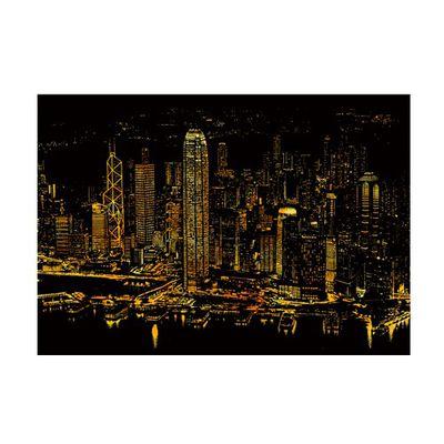 手刮城市金色夜景刮畫紙-香港