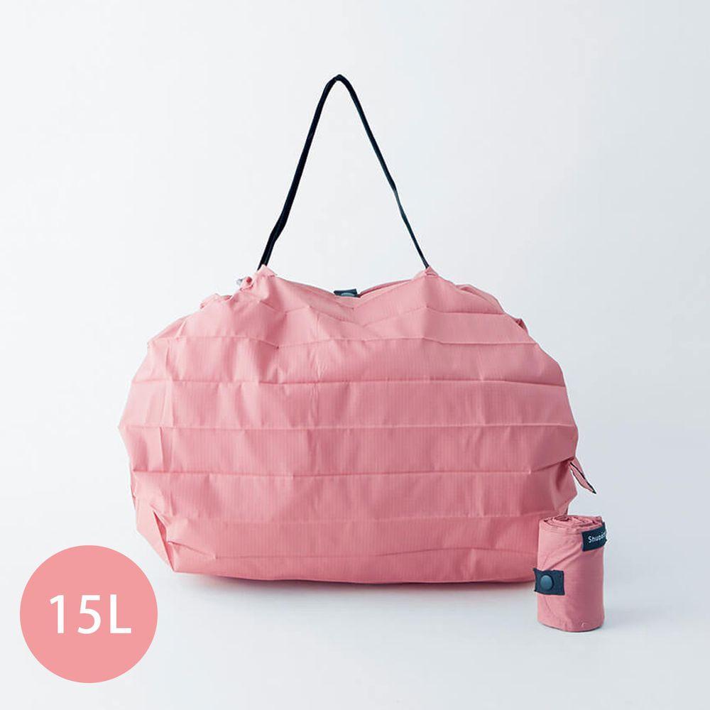 日本 MARNA - Shupatto 秒收摺疊購物袋-五週年限定升級款-蜜桃粉 (M(30x35cm))-耐重5kg / 15L