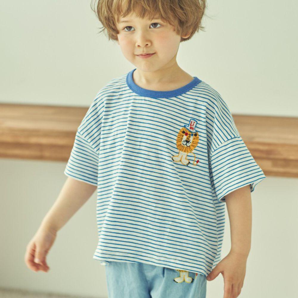 韓國 Mimico - 刺繡獅子條紋T