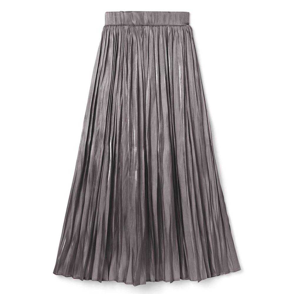 日本 GRL - 明星聯名款 光澤感緞面百褶長裙-咖啡