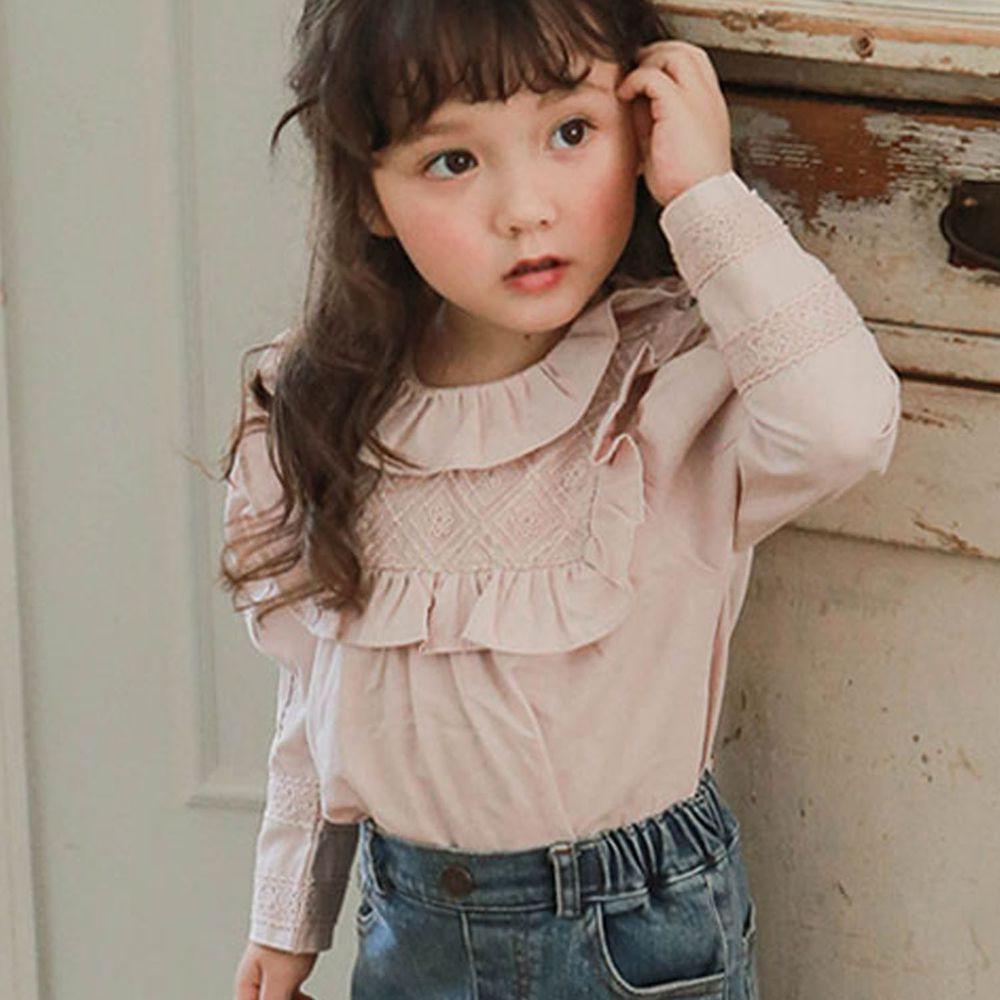 韓國 Puellaflo - 菱格雕花荷葉層次領公主袖上衣-淡粉紅