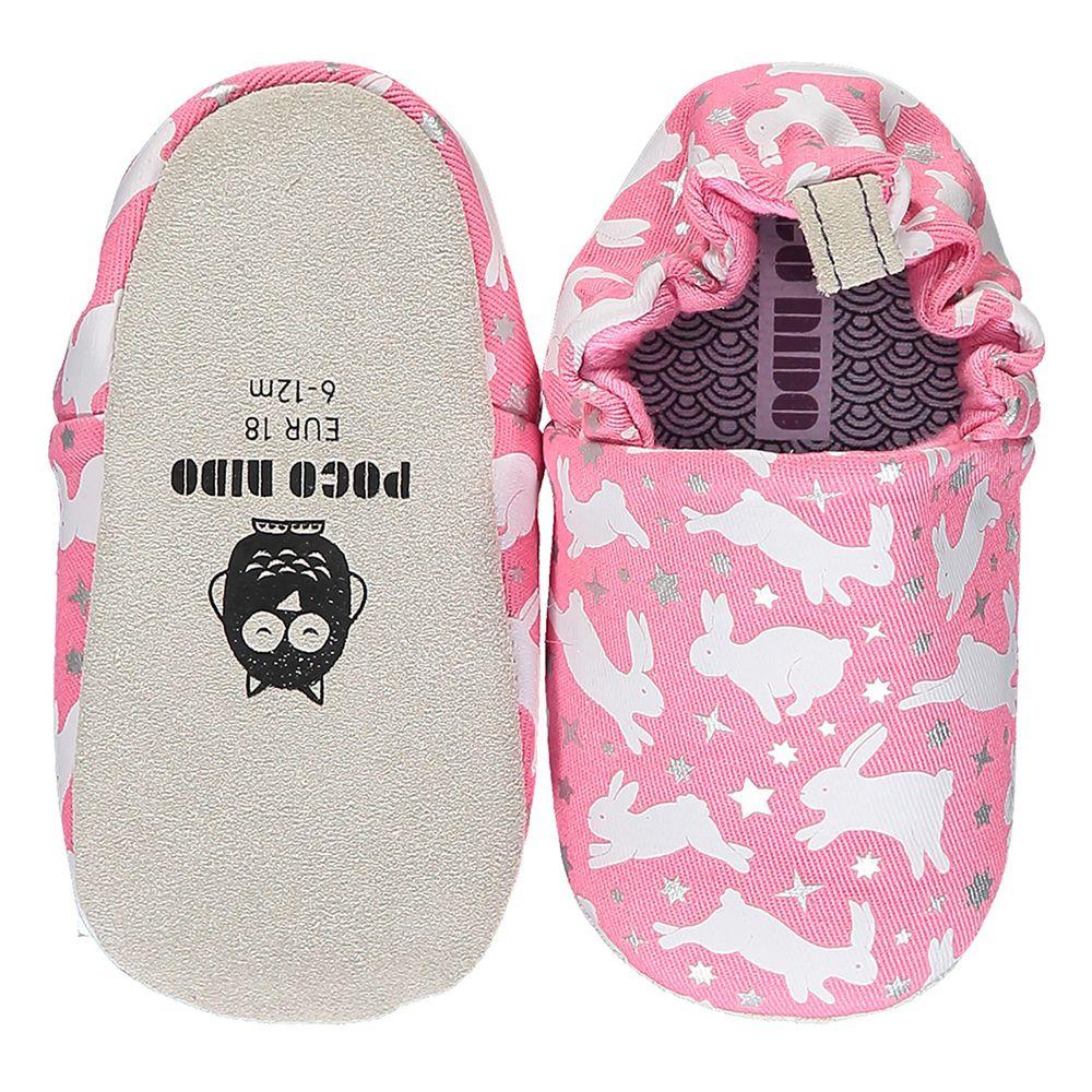 英國 Poconido - 寶寶手工鞋/學步鞋-粉紅兔兔