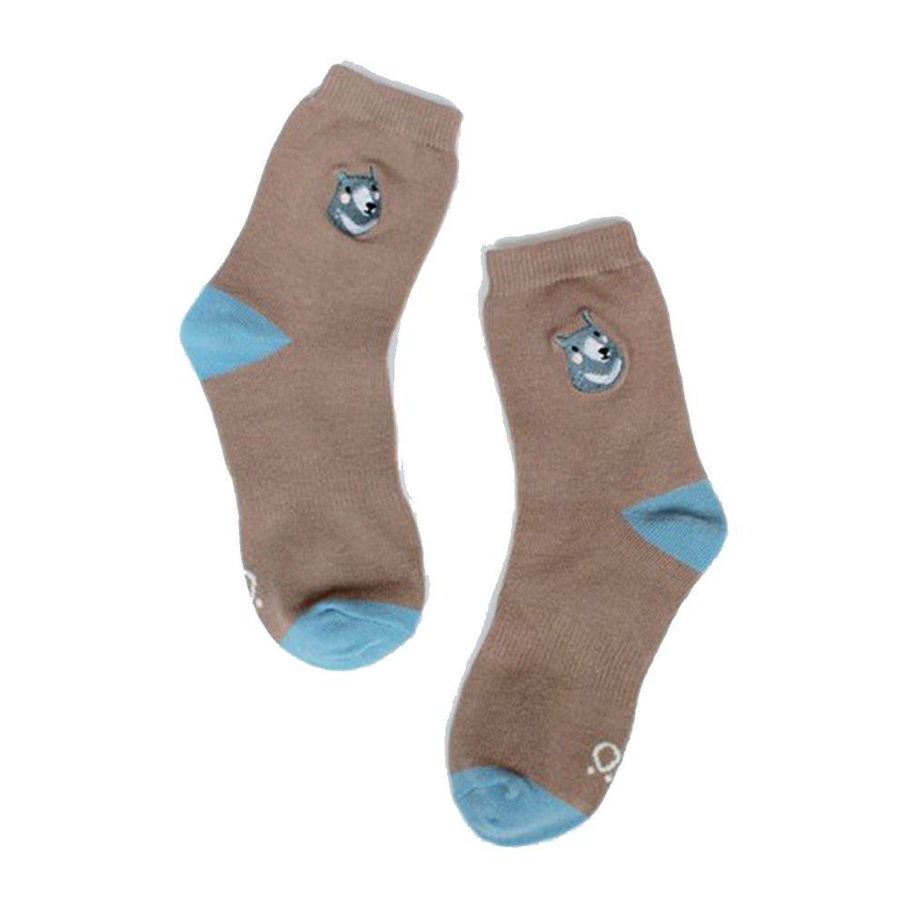 minihope美好的親子生活 - 萊卡精梳棉襪-黑熊-咖啡