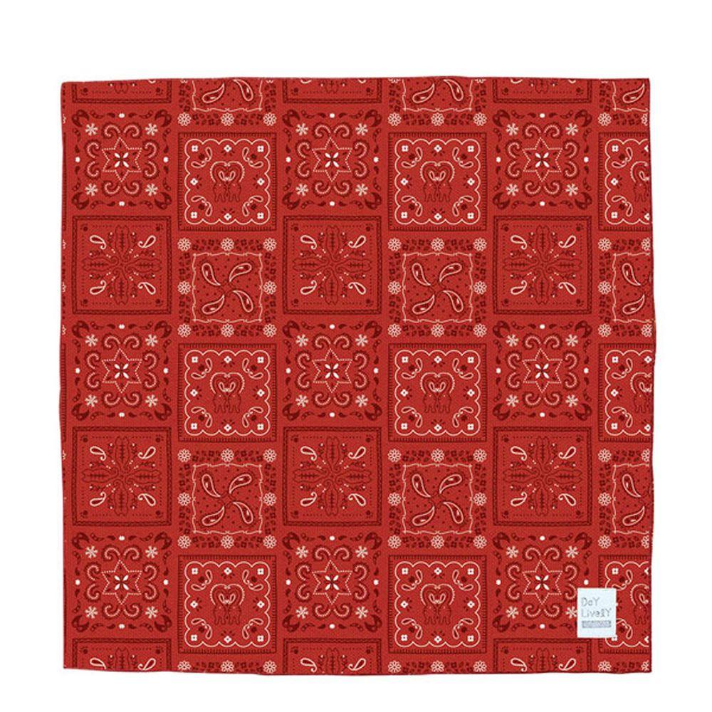 日本 DECOLE - 神奇水涼感方巾/領巾-圖騰-紅 (50x50cm)