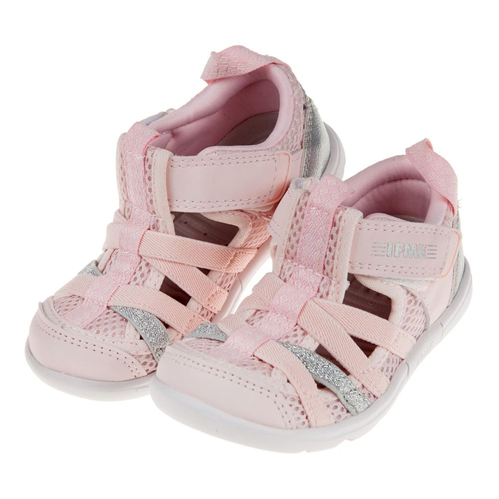 日本IFME - 粉色亮銀兒童機能水涼鞋