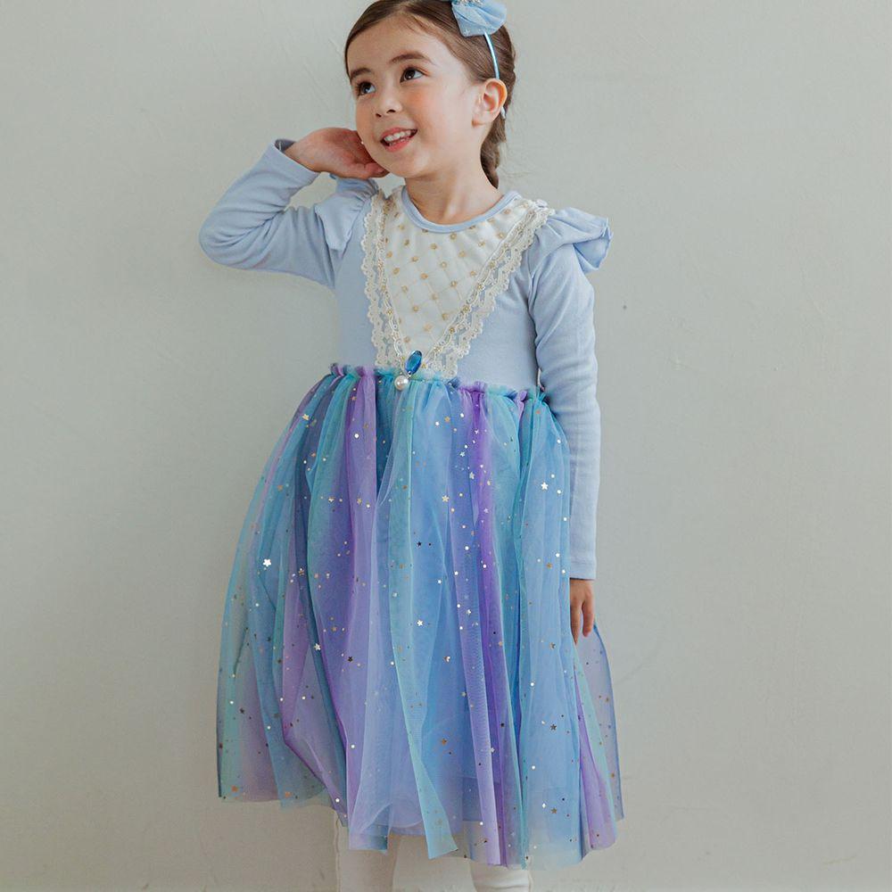 韓國 Mari an u - 艾莎藍網紗洋裝