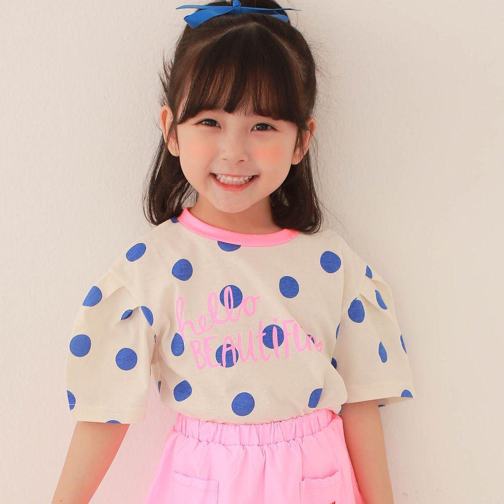 韓國 Dalla - 波點泡泡袖純棉T-藍波點