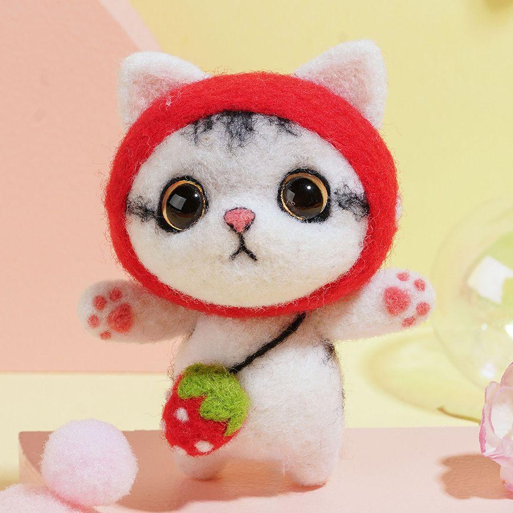 Diy療癒貓咪羊毛氈戳戳樂材料包-草莓貓咪