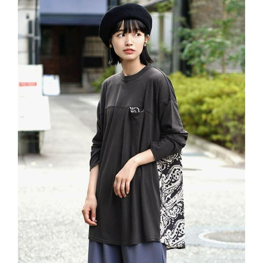 日本 zootie - 異材質拼接前短後長寬版長袖上衣-變形蟲圖騰-深灰
