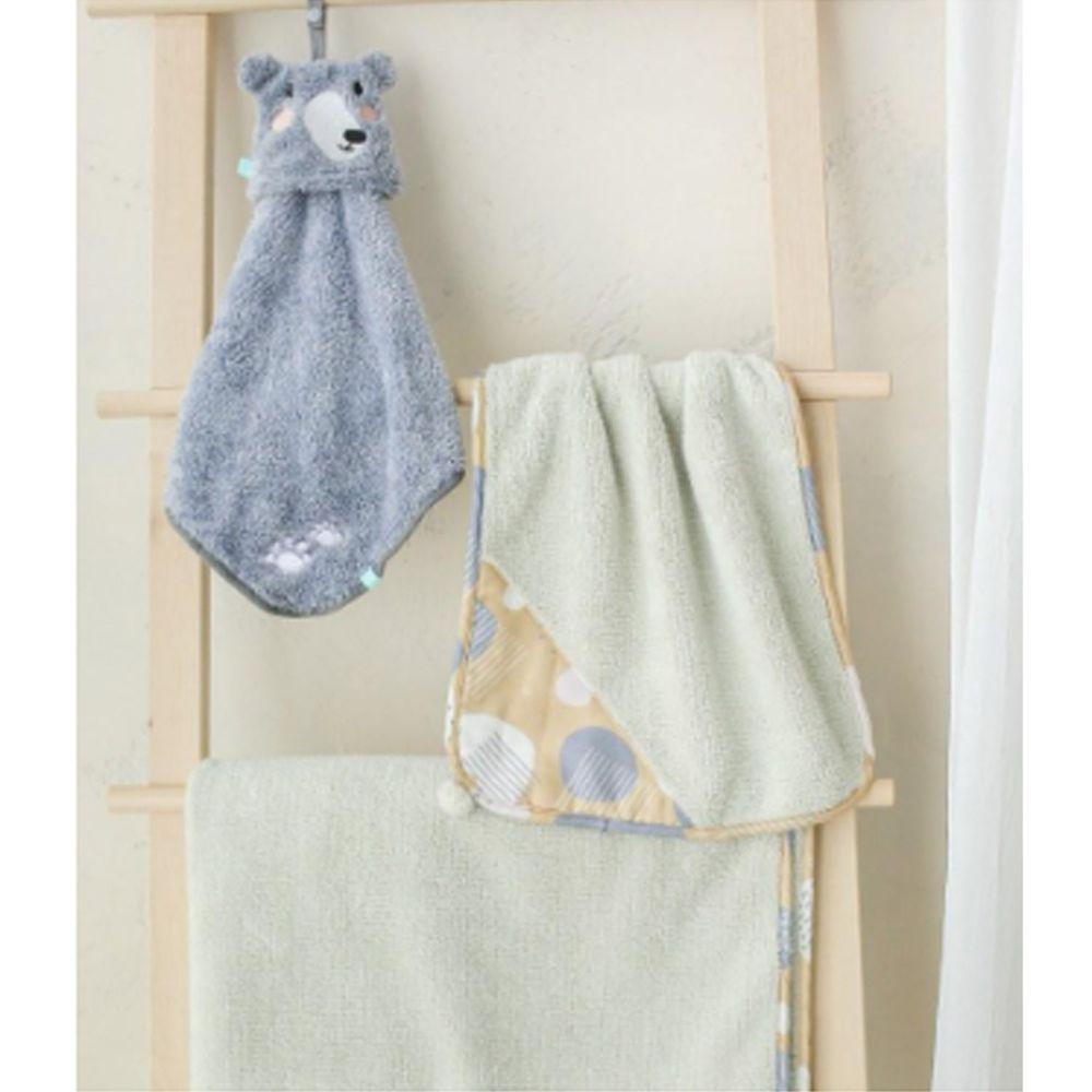 minihope美好的親子生活 - 黑熊-3件組-毛毛帕+灰球球巾+灰澎澎毯