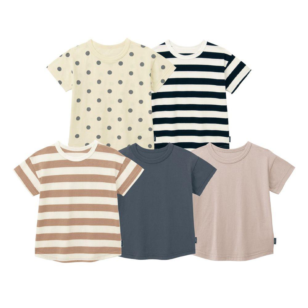 日本千趣會 - (親子款)超值內衣/T恤五件組 (短袖)-素色點點條紋-灰咖色系