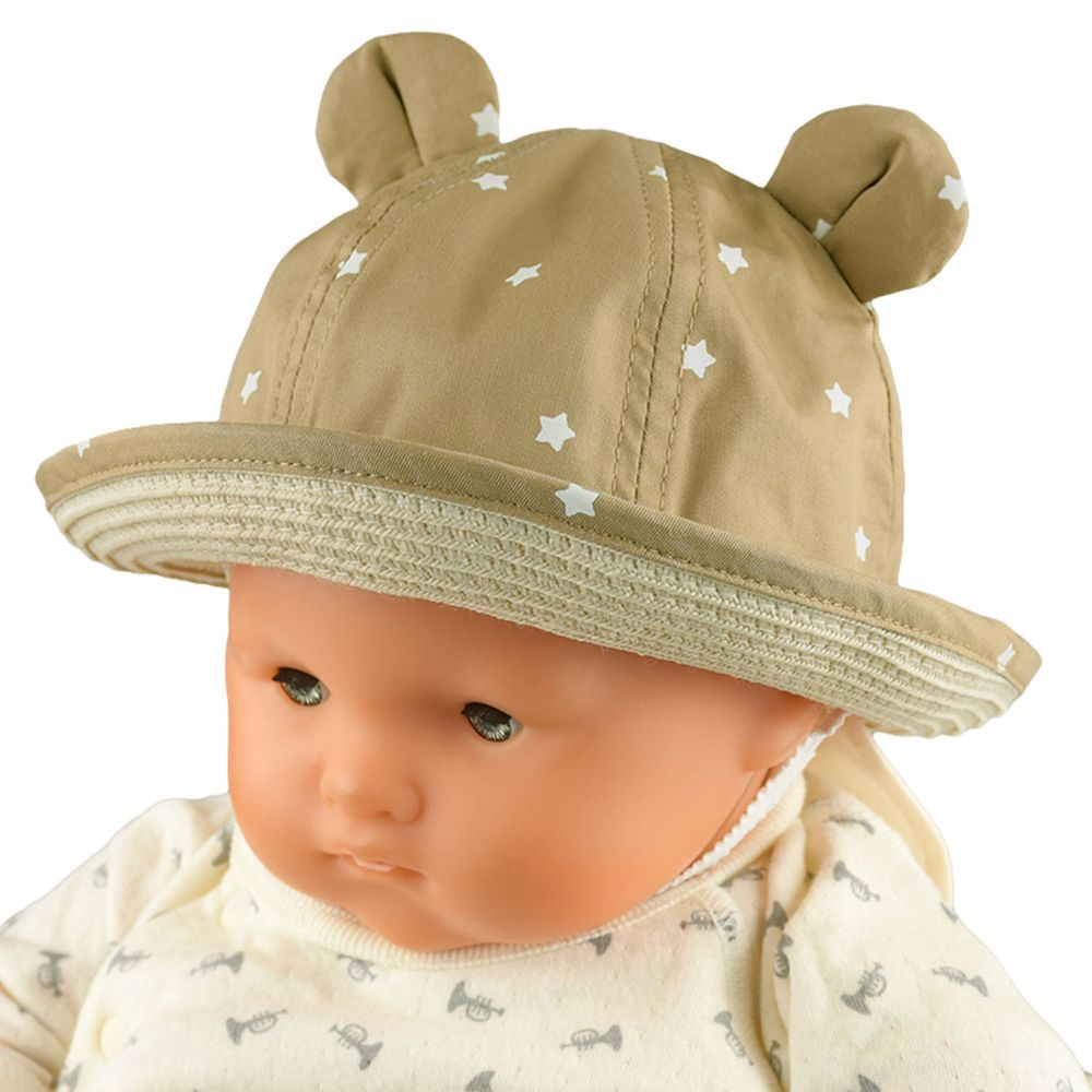 akachan honpo - 遮陽編織小耳朵反折帽-咖啡色