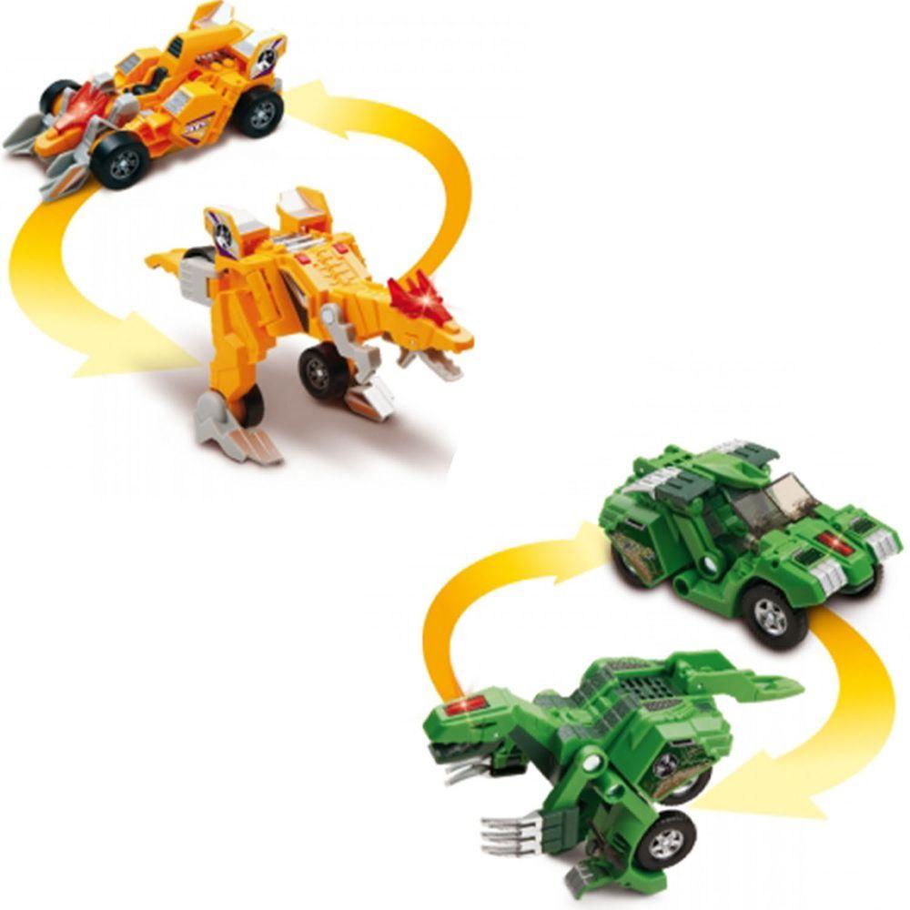 Vtech - 【超值1+1組】聲光變形恐龍車2入組-冥河龍(黃)+鐮刀龍(綠)