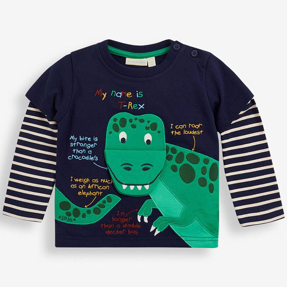 英國 JoJo Maman BeBe - 嬰幼兒100%純棉長袖上衣-呆呆恐龍
