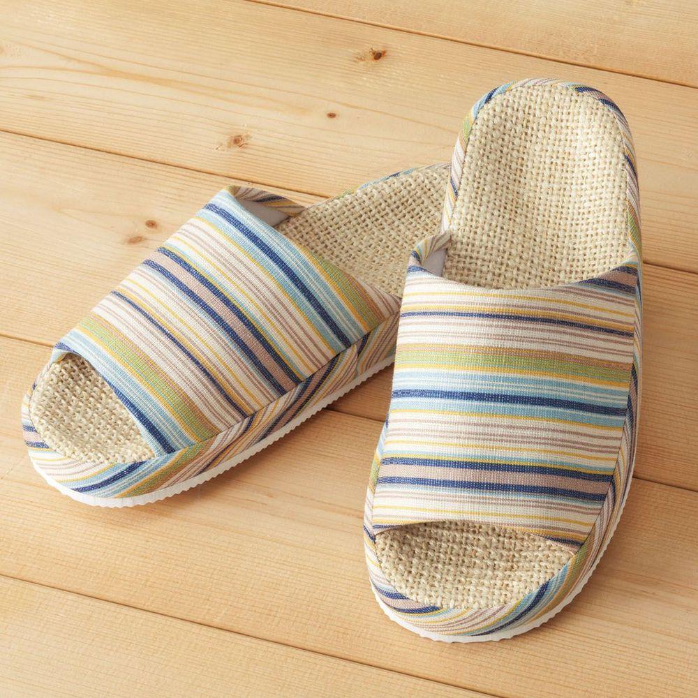 日本千趣會 - 舒適厚度麻織室內拖-條紋-藍色系 (L(25.5-27cm))