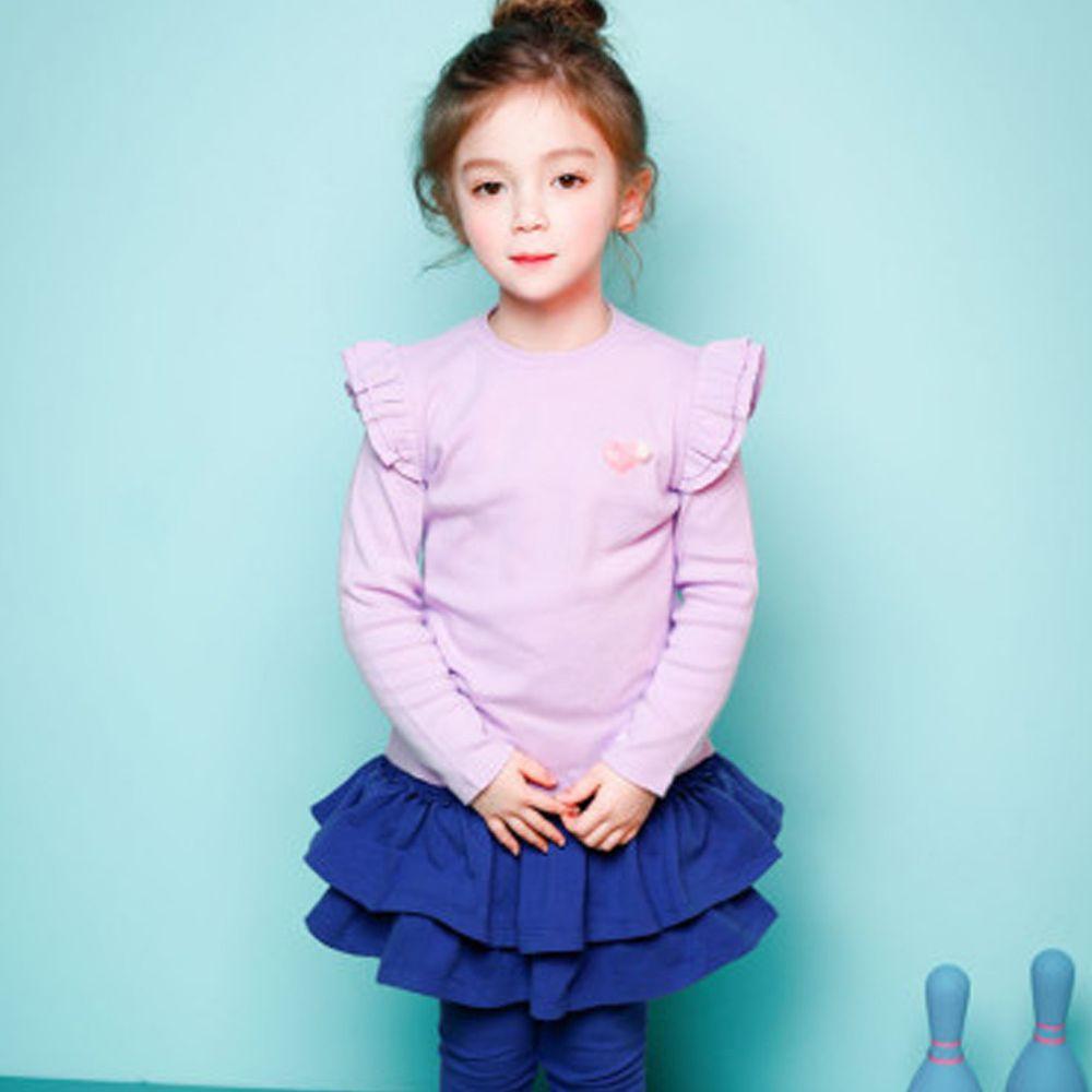 韓國 Jelispoon - 雙層荷葉袖上衣-紫