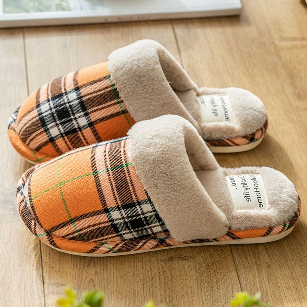 日系格紋防滑保暖棉拖鞋-亮橘