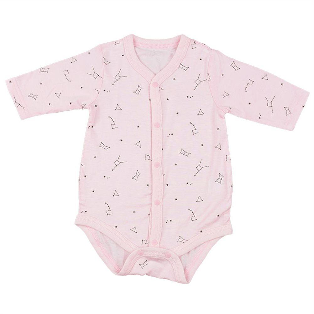 akachan honpo - 長袖前開式包屁衣-星座-粉紅色