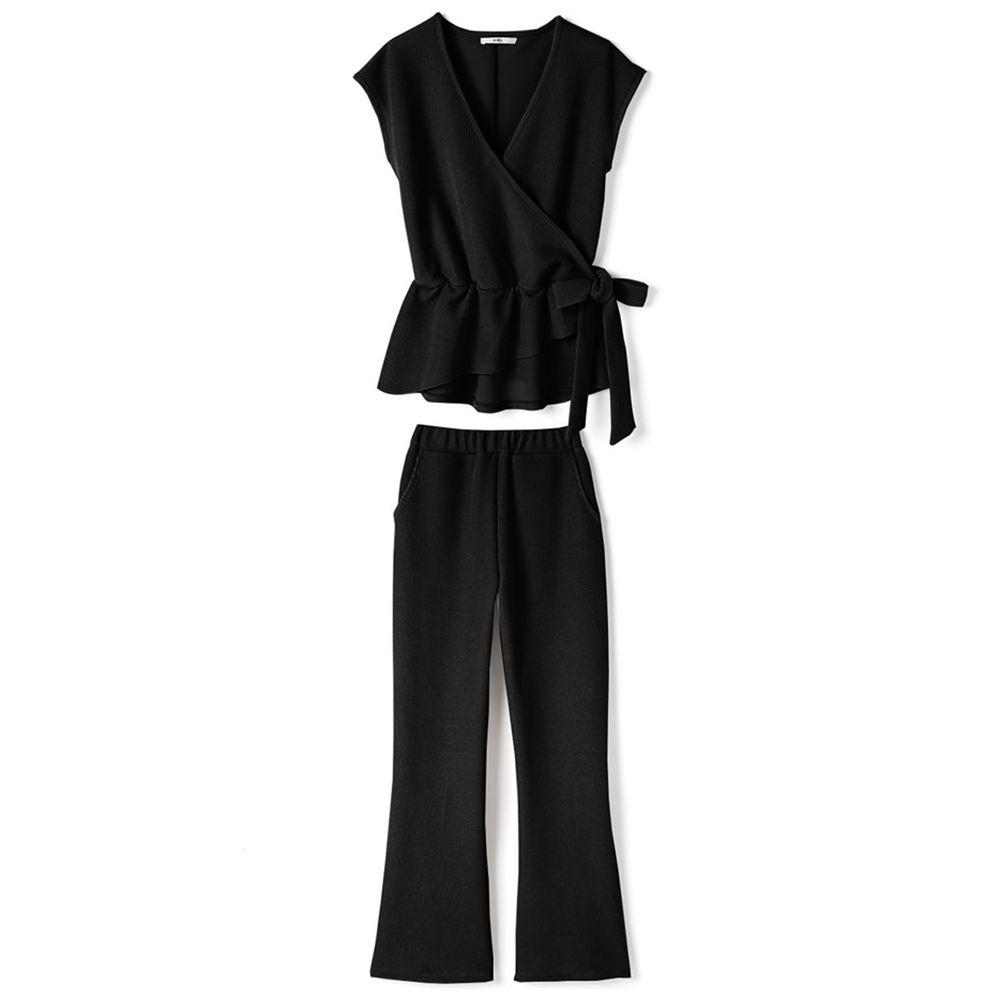 日本 GRL - 交叉荷葉綁帶背心X長褲套裝-時尚黑