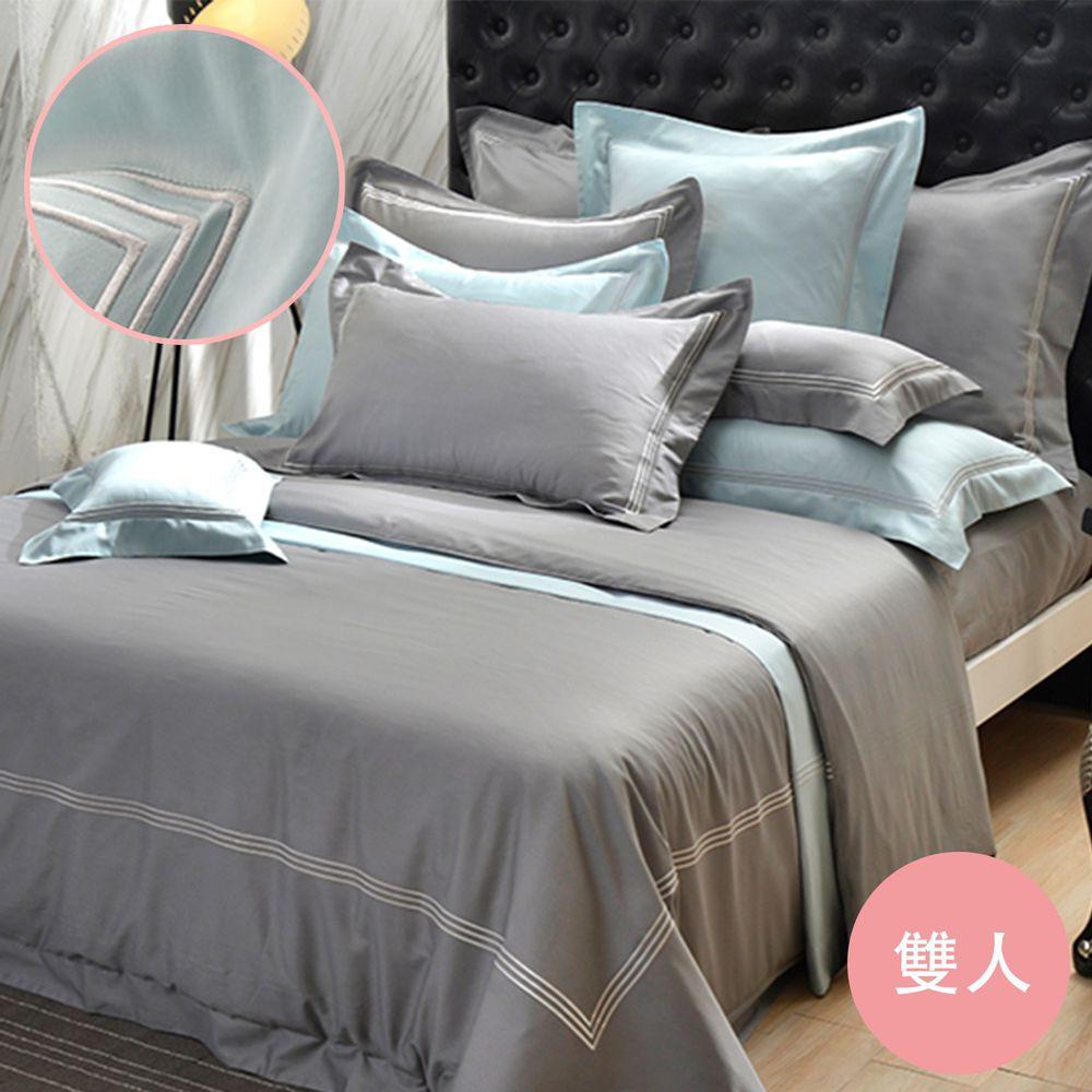 格蕾寢飾 Great Living - 長絨細棉刺繡四件式被套床包組-《典雅風範-寧靜藍》 (雙人)