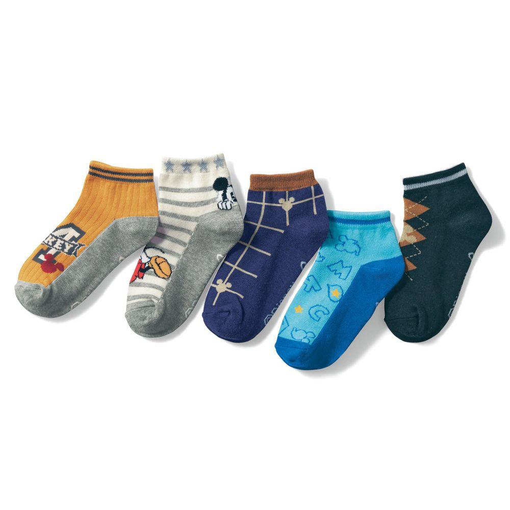 日本千趣會 - 迪尼印花兒童短襪五件組-米奇系列