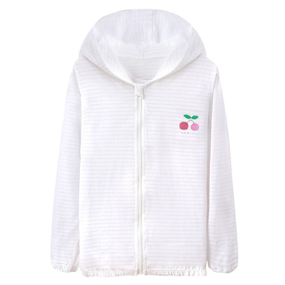 竹節棉輕薄款連帽外套-小櫻桃-白色