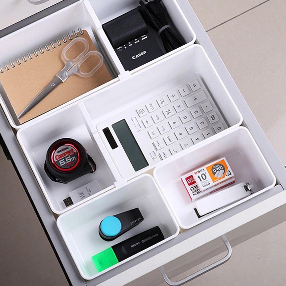 INOMATA - 抽屜用可調整分格收納盒5件組(1大1中3小)