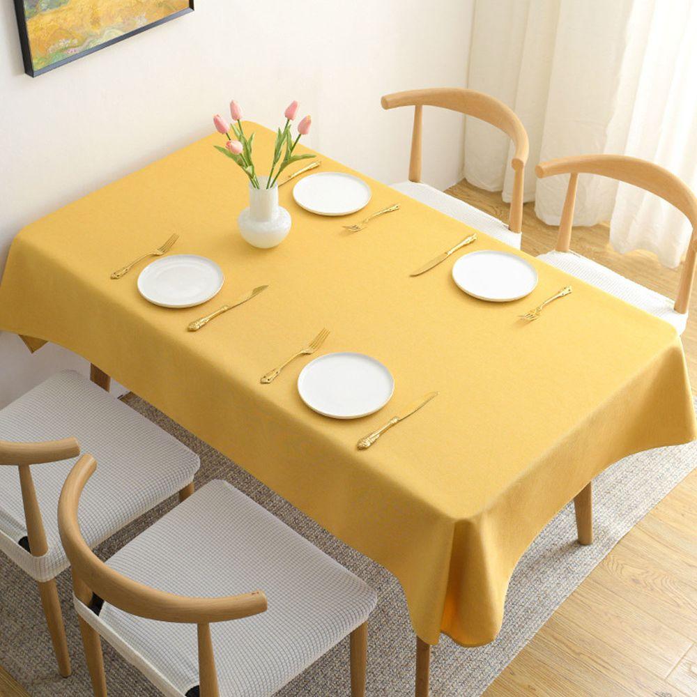 棉麻防水防髒桌布-黃色