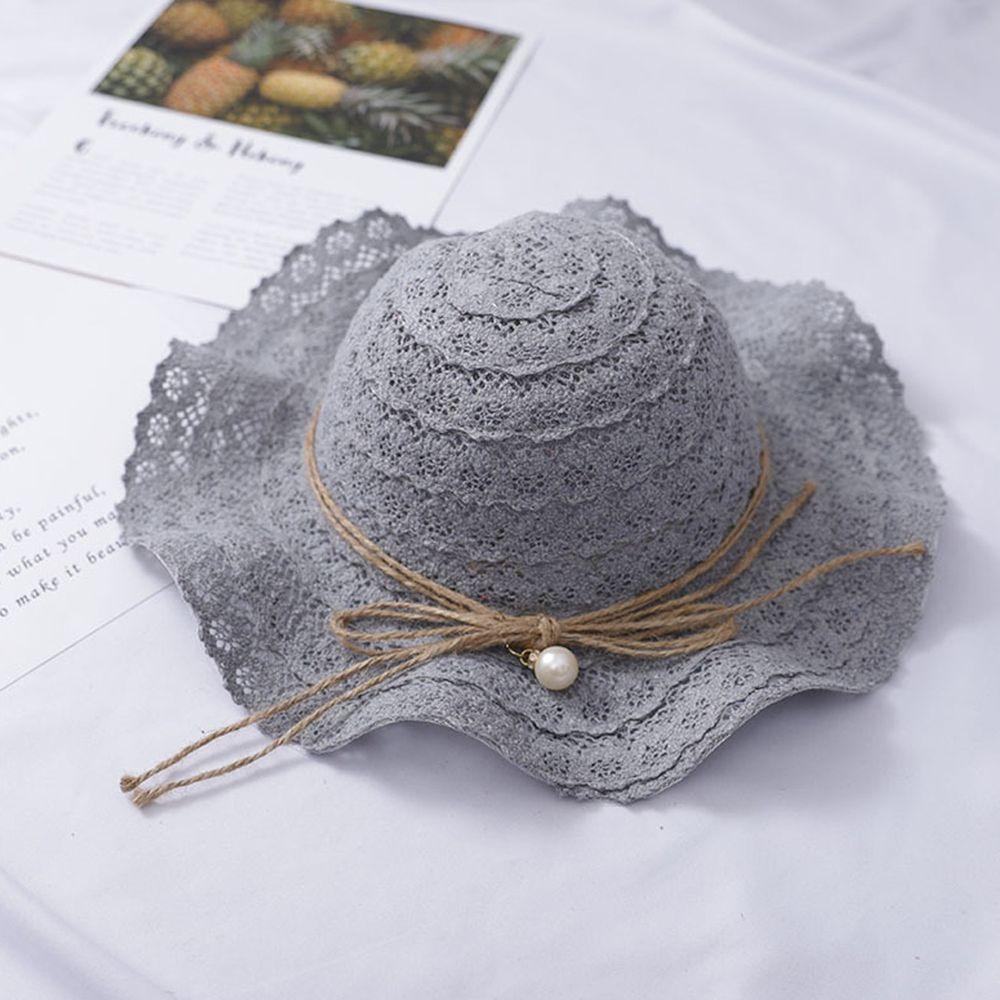 蕾絲波浪遮陽帽-灰藍色 (小孩款(51-52cm))