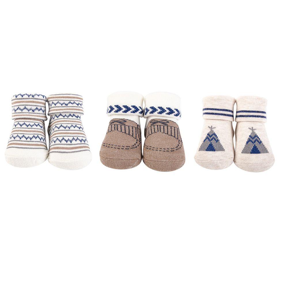 美國 Luvable Friends - 嬰兒襪/寶寶襪/初生襪 3入組-露營野趣 (0-9M)