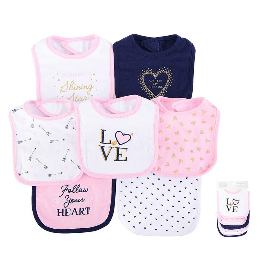 美國 Luvable Friends - 嬰幼兒雙層吸水口水巾圍兜7入組-金色愛心