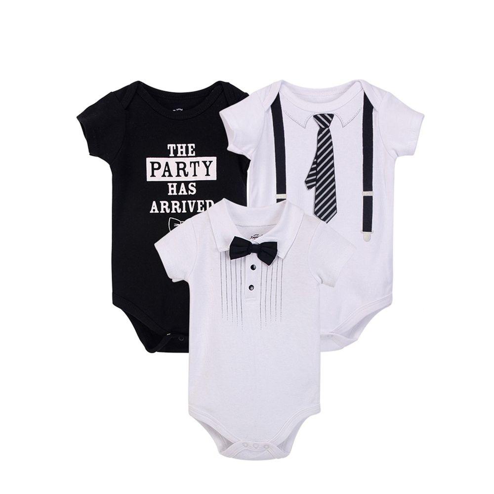 美國 Luvable Friends - 100%純棉嬰幼兒短袖包屁衣3件組-吊帶褲