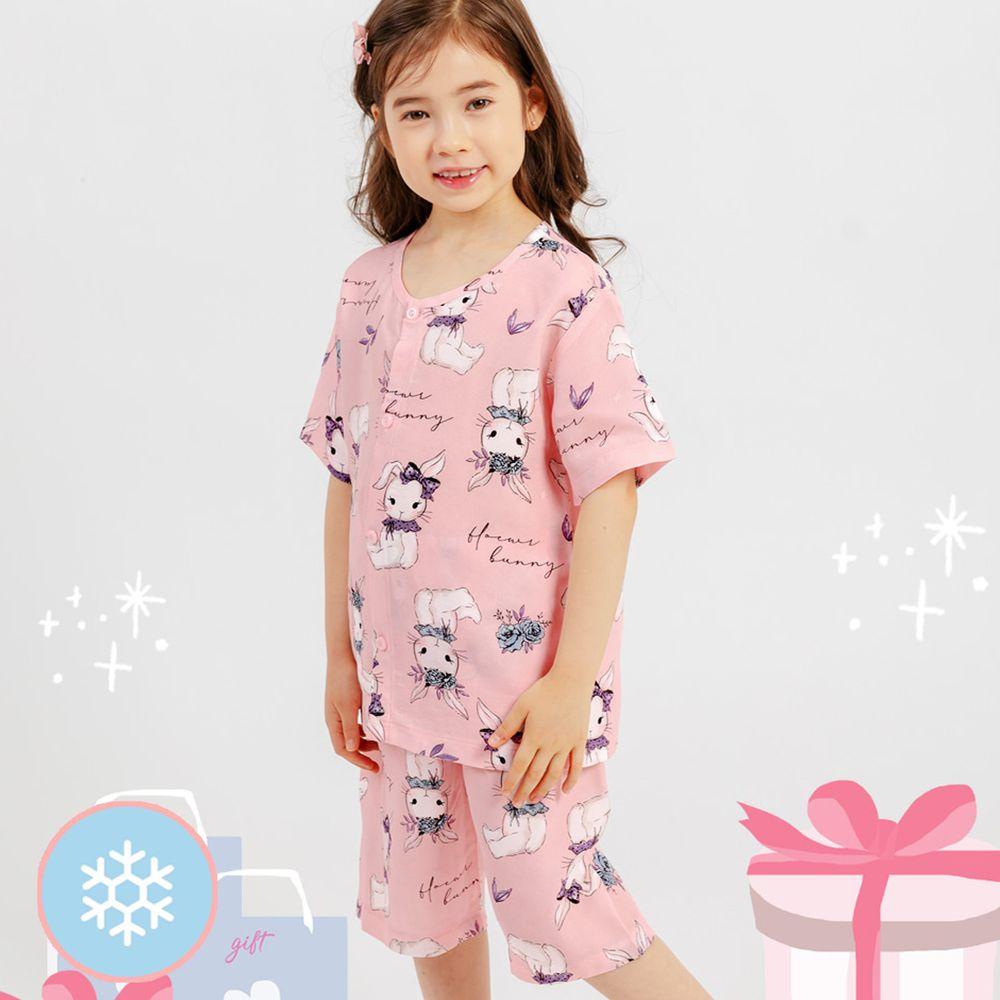 韓國 Mellisse - 韓製涼感嫘縈短袖睡衣/家居服-粉紅兔兔