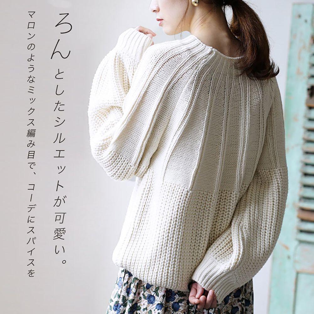 日本 zootie - 立體粗細拼接針織毛衣-象牙