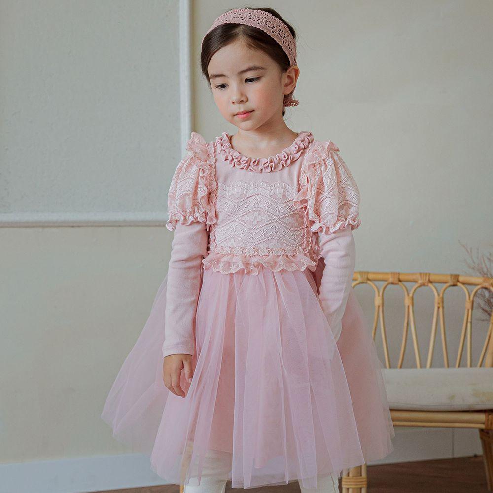 韓國 Mari an u - 華麗雕花蕾絲公主袖網紗洋裝-粉紅