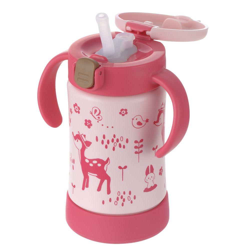 日本 Richell 利其爾 - 花間鹿不鏽鋼吸管保溫杯-300ML-紅/粉