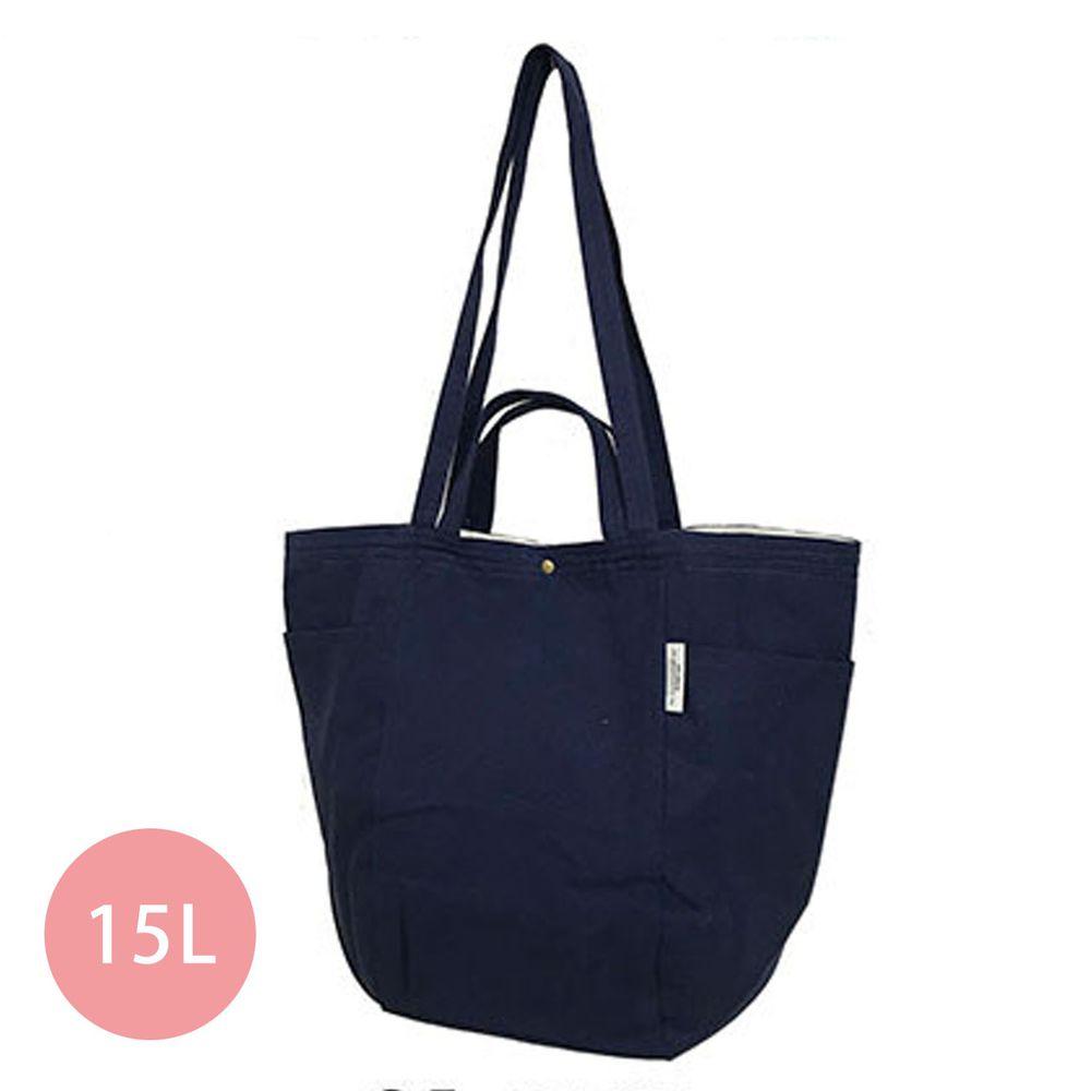 日本 Chepeli - 純棉 簡約2way大容量肩背包/手提袋-85. 深藍 (34x46x26cm)-15L