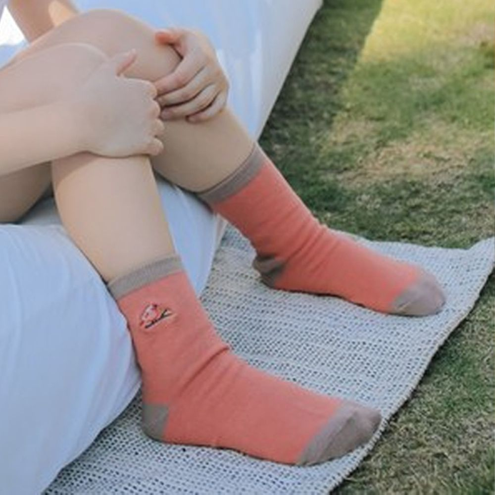 minihope美好的親子生活 - 抗菌除臭中筒襪(親子襪)-朱雀-珊瑚紅