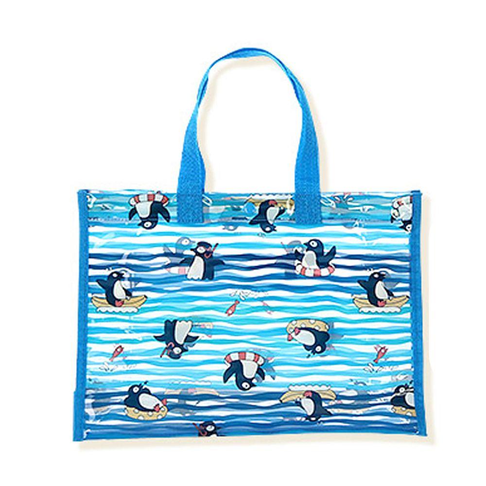 日本 ZOOLAND - 防水PVC手提袋/游泳包-E悠遊企鵝-水藍 (25x34x11cm)