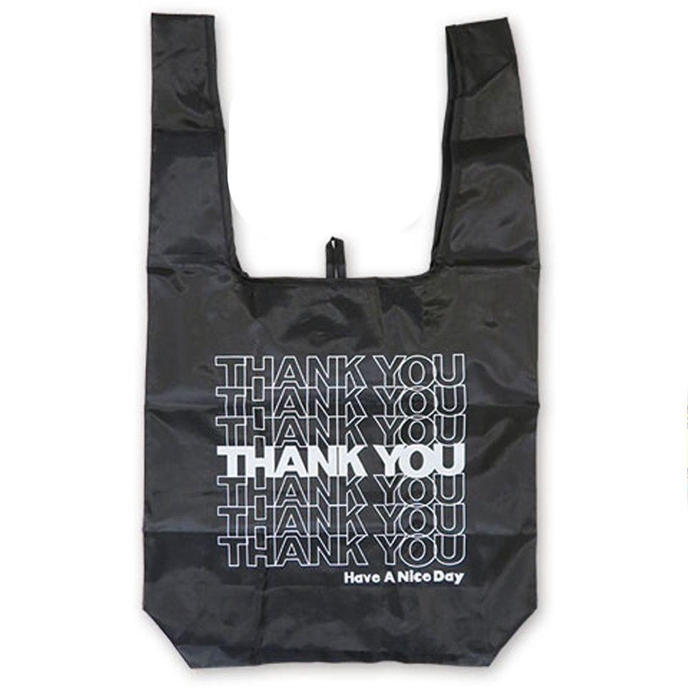 日本 OKUTANI - 折疊購物袋-THANK YOU-黑 (33x58cm)