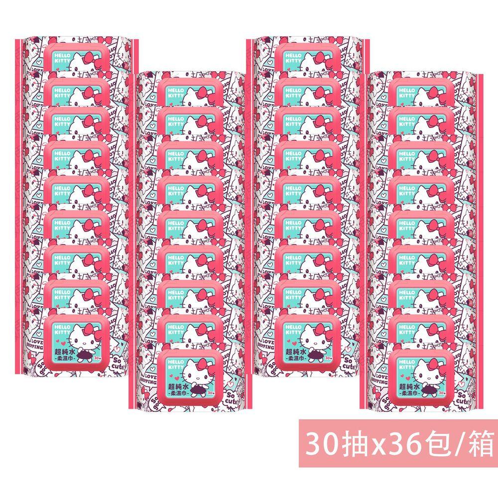 HELLO KITTY - Hello Kitty純水濕紙巾(加蓋)-30抽(箱購)-36包/箱