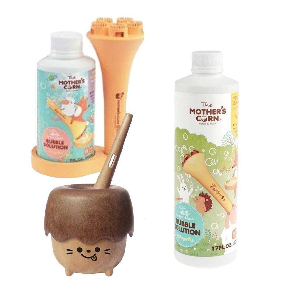 韓國 Mother's Corn - 小木森林兒童泡泡玩具 (不含泡泡水)+兒童專用超多泡泡組+兒童專用不易破泡泡補充罐(500ml)